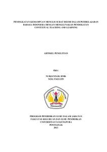 PENINGKATAN KEMAMPUAN MENULIS SURAT RESMI DALAM PEMBELAJARAN BAHASA INDONESIA DENGAN MENGGUNAKAN PENDEKATAN CONTEXTUAL TEACHING AND LEARNING