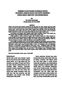 PENINGKATAN KETERAMPILAN MENULIS CERPEN MAHASISWA JURUSAN BAHASA DAN SASTRA INDONESIA DENGAN MODEL SINEKTIKS YANG DIKEMBANGKAN