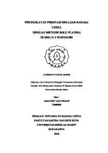 PENINGKATAN PRESTASI BELAJAR BAHASA CHINA DENGAN METODE ROLE PLAYING DI SMA N 2 WONOGIRI