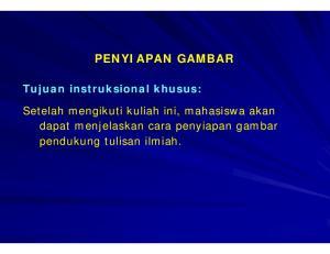 PENYIAPAN GAMBAR Tujuan instruksional khusus: