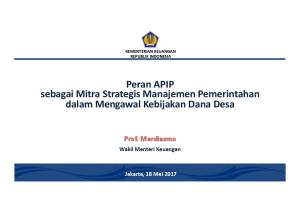 Peran APIP sebagai Mitra Strategis Manajemen Pemerintahan dalam Mengawal Kebijakan Dana Desa