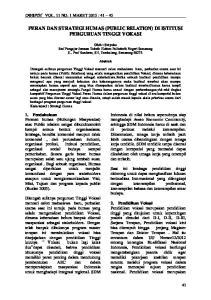 PERAN DAN STRATEGI HUMAS (PUBLIC RELATION) DI ISTITUSI PERGURUAN TINGGI VOKASI