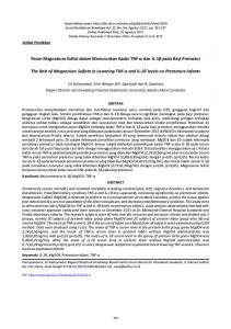 Peran Magnesium Sulfat dalam Menurunkan Kadar TNF-α dan IL-1β pada Bayi Prematur