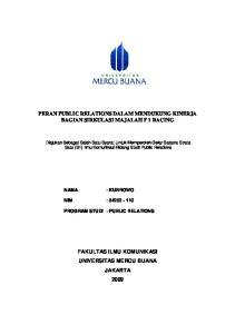 PERAN PUBLIC RELATIONS DALAM MENDUKUNG KINERJA BAGIAN SIRKULASI MAJALAH F 1 RACING