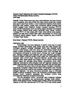 Peranan Pusat Pelaporan dan Analis Transaksi Keuangan (PPATK) Dalam Pemberantasan Money Laundry. Amir Ilyas