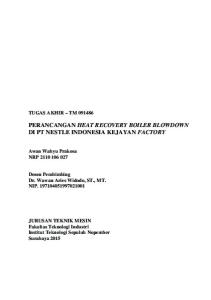 PERANCANGAN HEAT RECOVERY BOILER BLOWDOWN DI PT NESTLE INDONESIA KEJAYAN FACTORY