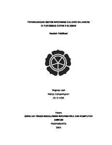 PERANCANGAN SISTEM INFORMASI CALORIE BALANCES DI PUKESMAS DEPOK II SLEMAN. Naskah Publikasi