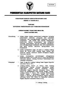 PERATURAN DAERAH KABUPATEN BATANG HARI NOMOR 8 TAHUN 2012 TENTANG RETRIBUSI PEMERIKSAAN ALAT PEMADAM KEBAKARAN