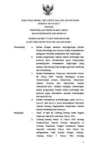 PERATURAN DAERAH KABUPATEN TANJUNG JABUNG BARAT NOMOR 9 TAHUN 2013 TENTANG PENGENDALIAN PENGELOLAAN LIMBAH BAHAN BERBAHAYA DAN BERACUN