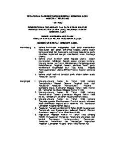PERATURAN DAERAH PROPINSI DAERAH ISTIMEWA ACEH NOMOR 3 TAHUN 2000 TENTANG