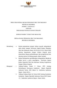 PERATURAN KEPALA BADAN PENGAWAS OBAT DAN MAKANAN REPUBLIK INDONESIA NOMOR 1 TAHUN 2017 TENTANG PENGAWASAN PANGAN OLAHAN ORGANIK