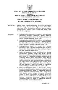 PERATURAN MENTERI AGAMA REPUBLIK INDONESIA NOMOR 23 TAHUN 2015 TENTANG STATUTA SEKOLAH TINGGI AGAMA ISLAM NEGERI JURAI SIWO METRO LAMPUNG