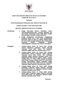 PERATURAN MENTERI KESEHATAN REPUBLIK INDONESIA NOMOR 80 TAHUN 2013 TENTANG PENYELENGGARAAN PEKERJAAN DAN PRAKTIK FISIOTERAPIS