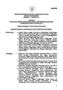 PERATURAN MENTERI NEGARA LINGKUNGAN HIDUP REPUBLIK INDONESIA NOMOR 11 TAHUN 2011