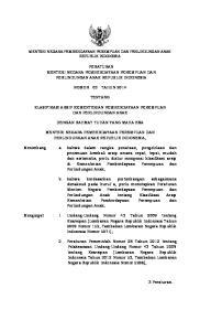 PERATURAN MENTERI NEGARA PEMBERDAYAAN PEREMPUAN DAN PERLINDUNGAN ANAK REPUBLIK INDONESIA NOMOR 03 TAHUN 2014 TENTANG