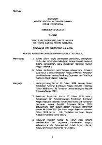 PERATURAN MENTERI PENDIDIKAN DAN KEBUDAYAAN REPUBLIK INDONESIA, NOMOR 62 TAHUN 2012 TENTANG