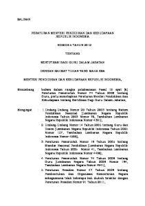 PERATURAN MENTERI PENDIDIKAN DAN KEBUDAYAAN REPUBLIK INDONESIA NOMOR 5 TAHUN 2012 TENTANG SERTIFIKASI BAGI GURU DALAM JABATAN