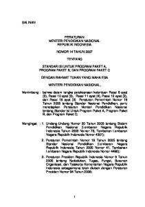 PERATURAN MENTERI PENDIDIKAN NASIONAL REPUBLIK INDONESIA NOMOR 14 TAHUN 2007 TENTANG