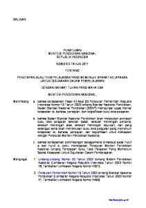 PERATURAN MENTERI PENDIDIKAN NASIONAL REPUBLIK INDONESIA NOMOR 5 TAHUN 2011 TENTANG