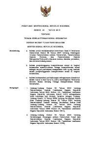 PERATURAN MENTERI SOSIAL REPUBLIK INDONESIA NOMOR 24 TAHUN 2013 TENTANG TENAGA KESEJAHTERAAN SOSIAL KECAMATAN DENGAN RAHMAT TUHAN YANG MAHA ESA