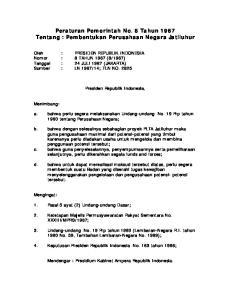 Peraturan Pemerintah No. 8 Tahun 1967 Tentang : Pembentukan Perusahaan Negara Jatiluhur