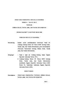 PERATURAN PEMERINTAH REPUBLIK INDONESIA NOMOR 1 TAHUN 2010 TENTANG DEWAN GELAR, TANDA JASA, DAN TANDA KEHORMATAN DENGAN RAHMAT TUHAN YANG MAHA ESA