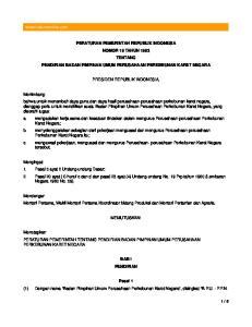 PERATURAN PEMERINTAH REPUBLIK INDONESIA NOMOR 19 TAHUN 1963 TENTANG PENDIRIAN BADAN PIMPINAN UMUM PERUSAHAAN PERKEBUNAN KARET NEGARA