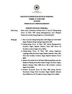 PERATURAN PEMERINTAH REPUBLIK INDONESIA NOMOR 27 TAHUN 2002 TENTANG PENGELOLAAN LIMBAH RADIOAKTIF