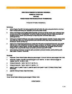 PERATURAN PEMERINTAH REPUBLIK INDONESIA NOMOR 56 TAHUN 1958 TENTANG POKOK-POKOK PENYELENGGARAAN TRANSMIGRASI PRESIDEN REPUBLIK INDONESIA,