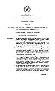 PERATURAN PEMERINTAH REPUBLIK INDONESIA NOMOR 61 TAHUN 2012 TENTANG