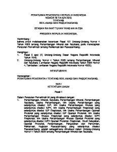PERATURAN PEMERINTAH REPUBLIK INDONESIA NOMOR 78 TAHUN 2010 TENTANG REKLAMASI DAN PASCATAMBANG DENGAN RAHMAT TUHAN YANG MAHA ESA