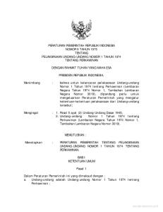PERATURAN PEMERINTAH REPUBLIK INDONESIA NOMOR 9 TAHUN 1975 TENTANG PELAKSANAAN UNDANG-UNDANG NOMOR 1 TAHUN 1974 TENTANG PERKAWINAN