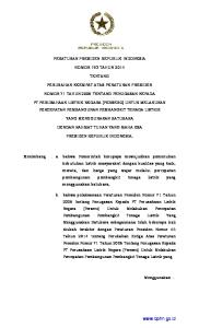 PERATURAN PRESIDEN REPUBLIK INDONESIA NOMOR 193 TAHUN 2014 TENTANG PERUBAHAN KEEMPAT ATAS PERATURAN PRESIDEN