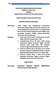 PERATURAN PRESIDEN REPUBLIK INDONESIA NOMOR 44 TAHUN 2015 TENTANG KEMENTERIAN HUKUM DAN HAK ASASI MANUSIA DENGAN RAHMAT TUHAN YANG MAHA ESA