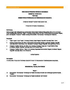 PERATURAN PRESIDEN REPUBLIK INDONESIA NOMOR 65 TAHUN 2015 TENTANG KEMENTERIAN PERENCANAAN PEMBANGUNAN NASIONAL DENGAN RAHMAT TUHAN YANG MAHA ESA