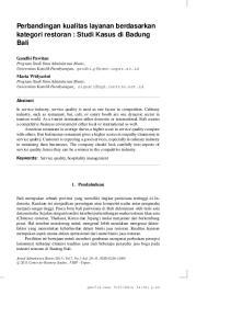 Perbandingan kualitas layanan berdasarkan kategori restoran : Studi Kasus di Badung Bali