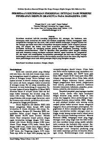 PERBEDAAN KECERDASAN EMOSIONAL DITINJAU DARI PERSEPSI PENERAPAN DISIPLIN ORANGTUA PADA MAHASISWA UIEU