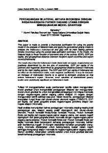 PERDAGANGAN BILATERAL ANTARA INDONESIA DENGAN NEGARA-NEGARA PATNER DAGANG UTAMA DENGAN MENGGUNAKAN MODEL GRAVITASI
