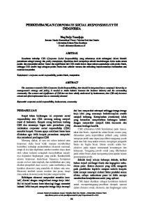 PERKEMBANGAN CORPORATE SOCIAL RESPONSIBILITY DI INDONESIA