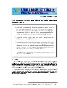 PERKEMBANGAN EKSPOR DAN IMPOR SULAWESI TENGGARA DESEMBER 2016