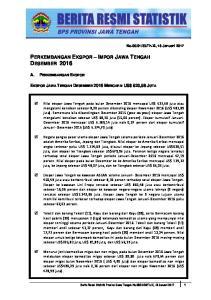 PERKEMBANGAN EKSPOR IMPOR JAWA TENGAH DESEMBER 2016