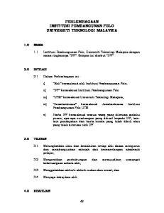 PERLEMBAGAAN INSTITUSI PEMBANGUNAN FELO UNIVERSITI TEKNOLOGI MALAYSIA