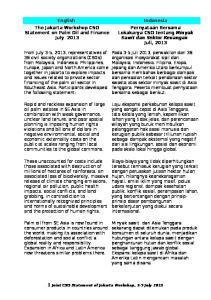 Pernyataan Bersama Lokakarya CSO tentang Minyak Sawit dan Sektor Keuangan Juli, 2013