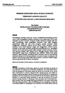 PERSEPSI KONSUMEN MUDA DI KOTA BANDUNG TERHADAP E-SERVICE QUALITY SITUS BELANJA ONLINE: A PRELIMINARY RESEARCH