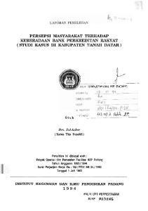 PERSEPSI MASYARAKAT TERHADAP KEBERADAAN BANK PERKREDITAN RAKYAT ( STUD1 KASUS DI KABUPATEN TANAH DATAR )