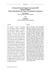 Persepsi Penyuluh Agama tentang Konflik Berbasis Agama (Kasus Ahmadiyah dan Tijani di Kabupaten Sukabumi)