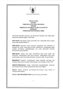 PERSETUJUAN ANT ARA PEMERINTAH REPUBLIK INDONESIA DE NGAN PEMERINTAH REPUBLIK ISLAM AFGHANISTAN MENGENAI PERSAHABATAN DAN KERJA SAMA