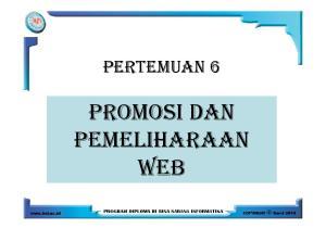 PERTEMUAN 6 PROMOSI DAN PEMELIHARAAN WEB
