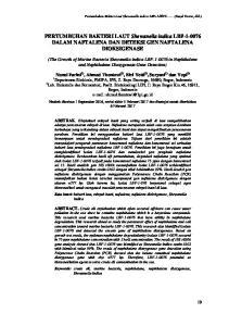 PERTUMBUHAN BAKTERI LAUT Shewanella indica LBF DALAM NAFTALENA DAN DETEKSI GEN NAFTALENA DIOKSIGENASE