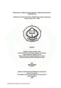 PERUBAHAN APRESIASI MASYARAKAT TERHADAP KESENIAN TRADISIONAL
